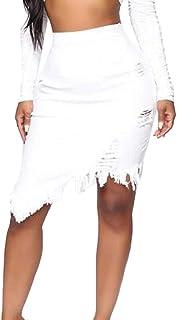 S-Fly Women's Stylish High Bodycon Sexy Ripped Waist Denim Midi Skirt