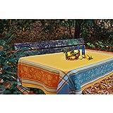 Tovaglia rettangolare Jacquard RAMATUELLE trattata Teflon, 160 x 350 cm, colore: giallo senape & blu