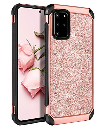 BENTOBEN Samsung Galaxy S20 Plus Case, 2 in 1 Slim Hybrid Glitter Sparkle Bling Hard Cover Soft Rubber Bumper Girls Rugged Shockproof Protective Phone Case for Galaxy S20 Plus 5G 6.7' 2020, Rose Gold