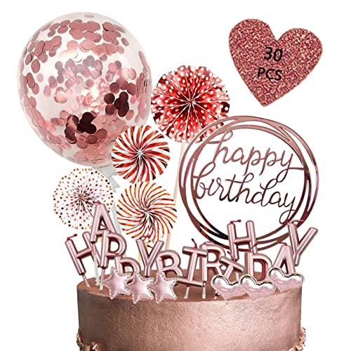 Decoracion Tarta Cumpleaños, Cake Topper Globos, 30 Piezas Happy Birthday Decoracion Tarta, Topper Tarta,Decoración Tartas.