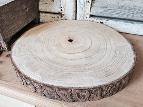 Large Natural Wood Log Slice Tree Bark Wedding Table Centerpiece Cake Stand (XXL 38-47cms)