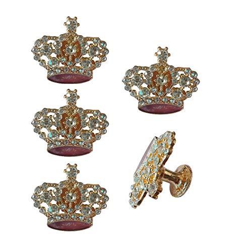 Kyien - Juego de 5 pomos de diamante de imitación para armario, cajón, armario, puerta, mueble