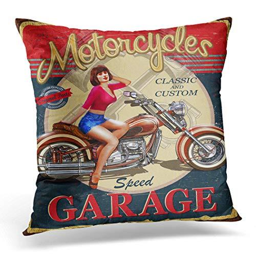 Funda de cojín Awowee, 45 x 45 cm, diseño vintage de moto, cartel de grunge, estrella, circo americano, decoración del hogar, funda de cojín para sofá, silla, cama, poliéster, 18'x 18'