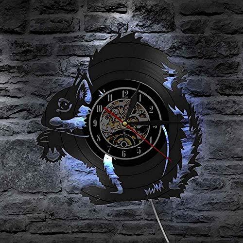 Reloj De Pared De Ardilla Ardilla Sosteniendo Una Bellota Reloj De Pared con Disco De Vinilo Reloj De Pared De Guardería De Animales Decoración De Arte De Pared De Guardería Reloj De Pared Reloj De