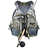 Elkton Outdoors Lightweight Universal Fit Fly Fishing Vest Backpack...