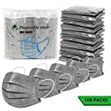 100 Pack Surgical Disposable Face Masks, 3 Ply Breathable Charcoal Activated Flu...