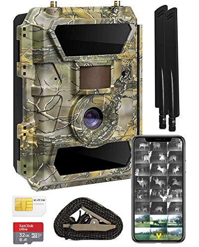 Yellowstone A.I. 4G LTE Wireless Cellular Trail Camera Bundle - Sends Pictures and Videos to Phone - Invisible No Glow Flash - Compatible on AT&T & T-Mobile - Includes Web App SD Card & Mount Strap