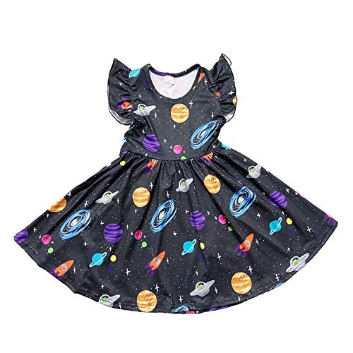 Toddler Baby Girls The Galaxy Printed Twirl Dress Universe Casual Starry Sky Dress 7 Years Black