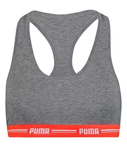 PUMA Damen Bustier Fitness-BH Sport-BH Iconic Racerback Bra 574006001, Farbe:Grau, Wäschegröße:S, Artikel:-955 Grey Melange/neon red