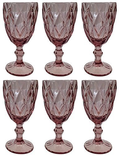 Vintage 6 Teile Set Rombus König Weinglas Glas Gläser Weingläser Wasserglas Longdrinkglas (lila)