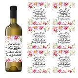 Floral Be My Bridesmaid Weinflaschen-Etiketten, Geschenkpackung mit 7-2 Stück und 5 Aufkleber für Brautjungfern für Asking My Best Girls