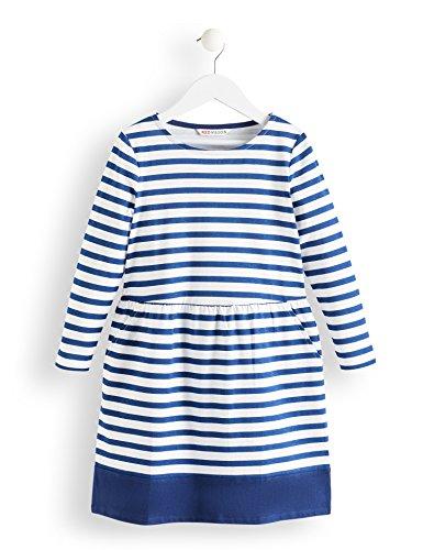 Amazon-Marke: RED WAGON Mädchen Kleid mit Streifenmuster, Mehrfarbig (Navy & White), 134, Label:9 Years