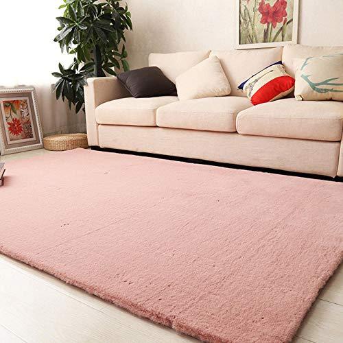 SDAFSA Plüsch Teppich Imitation Rabbit Fur Carpet Modernes Wohnzimmer Weiche, Flauschige Plüschteppiche Für Kinderzimmer Teppiche Kunstpelzmatten-Rosa_70 X 150 cm (27,5 X 59 Zoll)