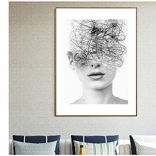Zhaoyangeng Zwarte en Witte Muur Art Nordic Line Meisje Doek Posters en Foto Prints voor Woonkamer- 50X70Cm/Unframed