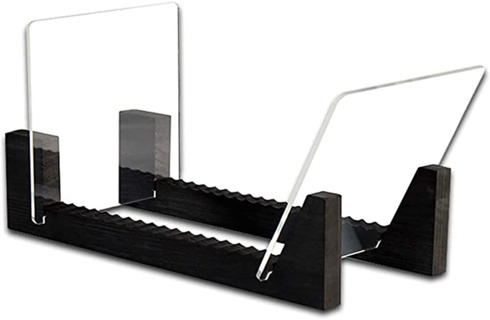 SODIAL Soporte para discos de vinilo de 13,7 pulgadas de largo, color negro