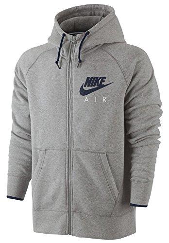 Nike Herren AW77 Fleece Full Zip Hoody Kapuzenpullover, Dunkelgrau Heidekraut/Obsidian, L