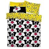 Sylvester, set copripiumino con stampa di Tweety, per bambini con stampa rotativa, reversibile, per letto matrimoniale, con federe, Looney Tunes Sylvester & Tweety