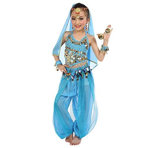 Harpily Vestiti di Ballo Bambina Ragazze Danza del Ventre Danza Abito Vestiti da Ventre Ragazza da Ballo del Egypt Dance 2pcs Top Backless + Pantaloni con Paillettes (L, Azzurro)