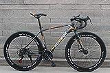 LIKEJJ Vélo de Route Adulte, vélo de Course pour Hommes avec Frein à Disque Double, vélo de Route à Cadre en Acier à Haute teneur en Carbone, vélo de Ville 700c , 21 Vitesses-Noir Orange