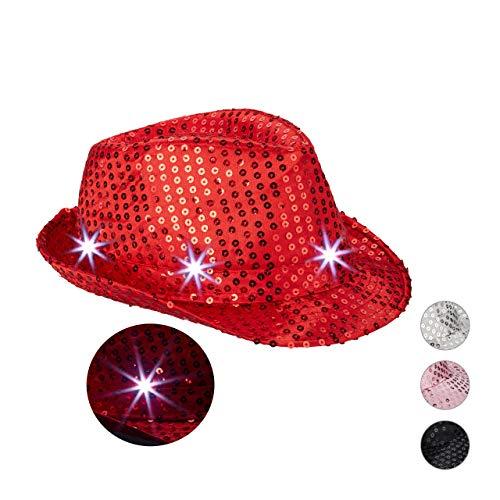 Relaxdays 10023897_47 Pailletten Hut, 6 blinkende LEDs, mit Glitzer, Männer & Frauen, JGA, Fasching, Partyhut, Einheitsgröße, rot, Unisex– Erwachsene