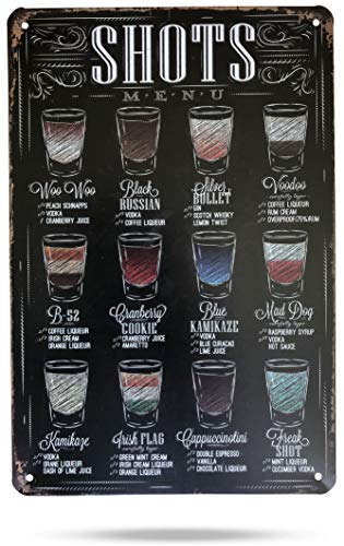Karmour Accessories Cocktails – Retro Chalk Board Style, 30x20cm Vintage Tin Signs For Cafe's Bars Man Caves Kitchens & More (Shots Menu)