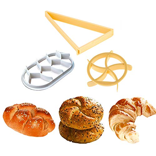 Kaiser Bread Roll, German Style Bread Roll, Croissant Cutter, 3PCS Dough Press Mold Set, Bread Press Stamp for Baking