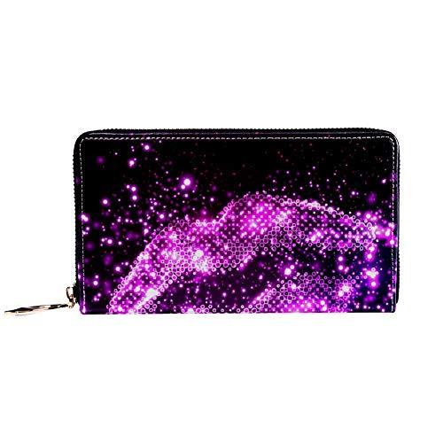 XCNGG Damen Reißverschluss um Brieftasche und Telefonkupplung, Reisetasche Leder Clutch Bag Kartenhalter Organizer Wristlets Brieftaschen, Pink Sparkling Lips