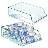 mDesign Juego de 2 botelleros para nevera que ahorran espacio – Estante para botellas de vino, agua y otras bebidas – Cajón de plástico para armarios de cocina y encimera – azul claro