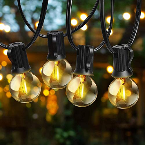 Svater Outdoor String Lights LED,G40 25Ft 23Pcs LED Glass E12 Globe Bulbs- Heavy Duty Outdoor Lighting,IP45 Outdoor String Lights Bulb 1W 2700K Warm for Home,Garden,Terrace,Party,Christmas,Wedding