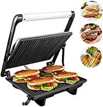 AICOK Sandwich Maker Panini Press Grill Contact Grill 1200-Watts Non-stick with 4-Slice Family Size Rotable Plate, Removable Drip Tray, LED Indicator Lights and Floating Hinge