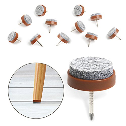 40pcs Furniture Felt Pad Round Heavy Duty Nail-on Slider Glide Pad Floor Protector for Wooden Furniture Chair Tables Leg Feet(Dia 1.1'/28mm,Brown)