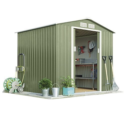 Metal Garden Shed Small Outdoor Storage 7 x 6.3 with Sliding Doors & Easy Access Ramp, Weatherproof Apex Roof by Waltons (Standard with Foundation Kit, Light Green)