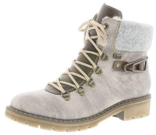 Rieker Damen Winterstiefel Y9131,Frauen Winter-Boots,warm,Tex-Membran,wasserfest,Blockabsatz 3.6cm,wasserdicht,Asche/Kastanie/Kastanie/Fog, EU 37