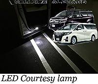 トヨタ 新型 30系 アルファード ヴェルファイア フロントLEDカーテシランプ 交換式 高輝度 ハイワッテージ ハイパワーLED 足元灯 内装 カスタム パーツ ドア灯 ルームランプ ウェルカムランプ カーテシー ライト 左右2個セット
