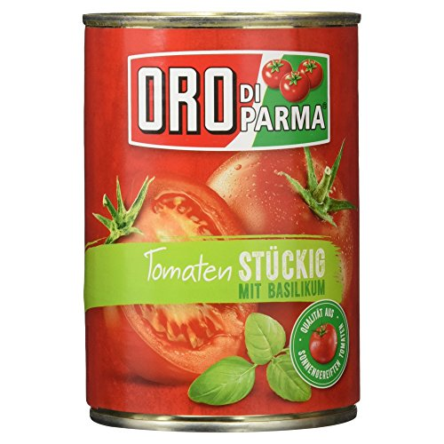 Oro di Parma Stückige Tomaten mit Basilikum, 400g