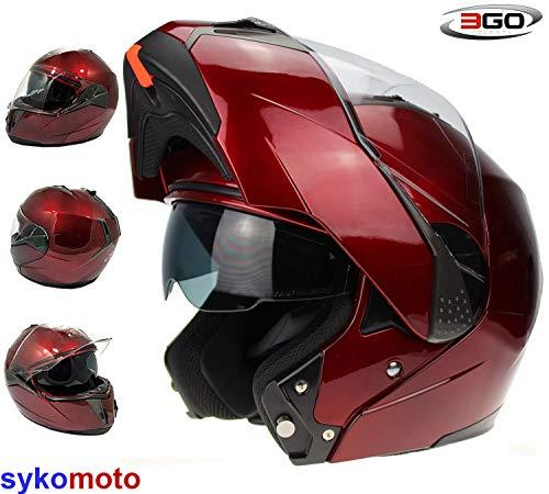 3GO 115 MODULARES MOTOCICLETA TURISMO DVS ECE ACU BURGANDY CASCO (M (5