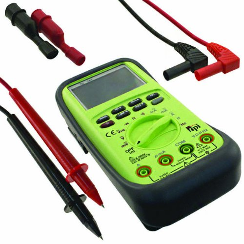 TPI 183 Triple Display Digital Multimeter with Analog Bar Graph and Protective Boot, 40 Megaohms Resistance, 750V AC, 1000V DC Voltage, 10A AC/DC Current