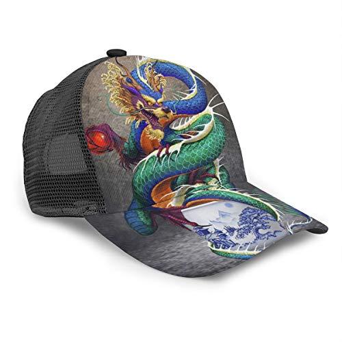 Dreamfy Unisex Baseball Cap Chinese Dragon Noble Monster Chinoiserie Snapback Bill Hip Hop Hats Trucker Hat for Men Women