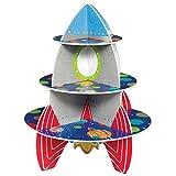 amscan-3 Tier Rocket Decorative Cardboard Cupcake Stand 33cm x 40.1cm-1 Pc Blast Off 142278-Soporte niveles, 33 x 40,1 cm, diseño de cohete, color explosión, 15 x 13 (142278)