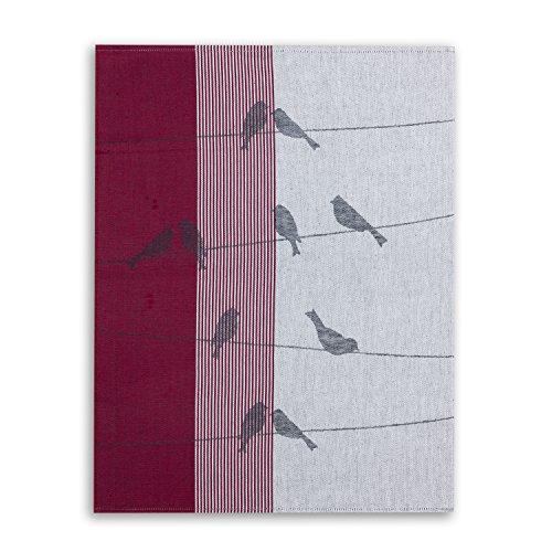 ziczac-affaires KRACHT, Geschirrtuch Jacquard Gewebe, Halbleinen, Serie Zugvögel, rot, Edition, ca.50x70cm