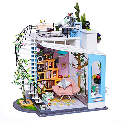 QULONG Miniature Dollhouse Kits Dora Loft Handcraft Wooden Doll House Model Kits Best Gifts with Furniture and Accessories Educational Toys for Girls