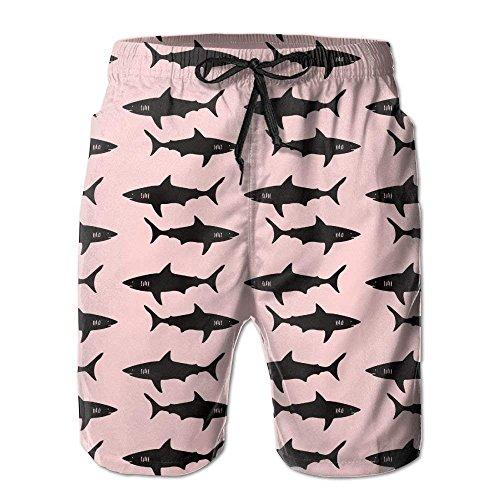 GOSMAO Black Shark Shorts de Playa para Hombre Shorts de Playa Bañadores