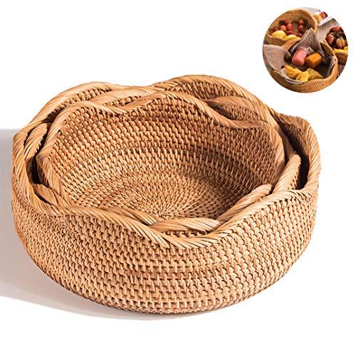 Holzaufbereitung Obstkorb/GemüSekorb, Handgewebt, Stark Und Robust, Vielseitig Einsetzbar, Retro Style,Beige-2-L
