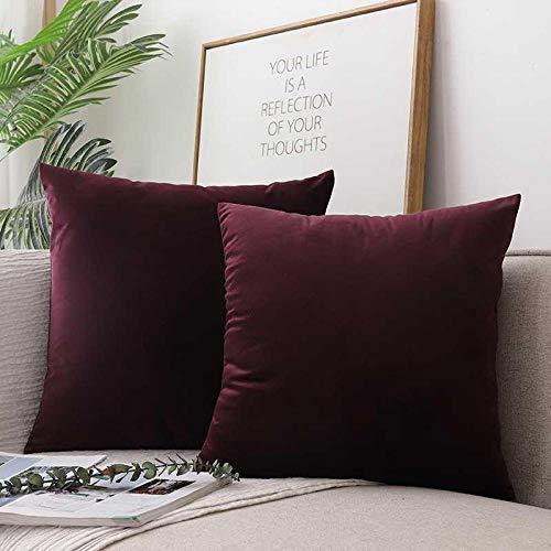 xiaoxong658 Throw pillow Dh52 Nordic pillow square cushion sofa cushion living room square back cushion velvet pillowcase with core-45X45cm (pillowcase + pillow core)_Purple Tang Square pillow