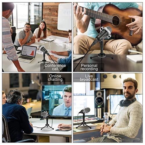 ELEGIANT Computer Mikrofon, PC Handy Mikrofon Standmikrofon Kondensatormikrofon Aufnahmemikrofon mit 3.5mm Klinke+Adpaterkabel Plug & Play für YouTube Podcast Skype PC Laptop Windows/Mac Smartphone