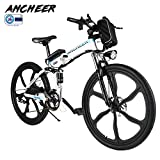 ANCHEER Electric Mountain Bike, 26 Inch Folding E-bike with Super Lightweight Magnesium Alloy