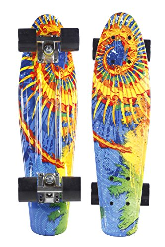 Plastic Retro Skateboard 22'' Cruiser for Kids Youth Beginners PU...