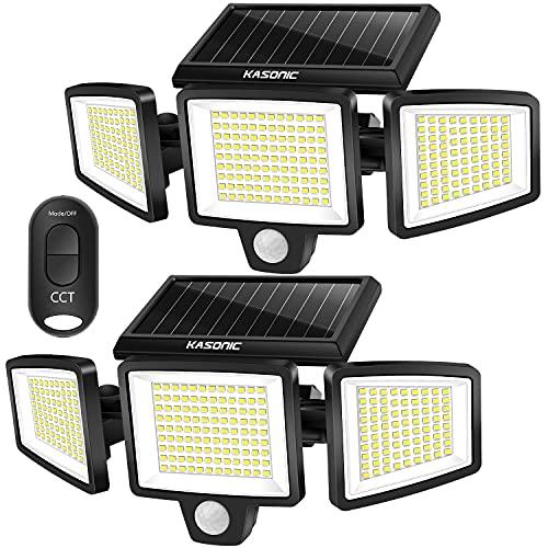 Kasonic Lot de 2 lampes solaires d'extérieur 264 LED 2500 lm sans fil étanche avec détecteur de mouvement 3 couleurs réglables 3000 K / 4500 K / 6500 K - Projecteur LED de sécurité avec télécommande