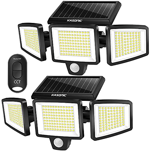Solar Lights Outdoor, Kasonic 264 LED 2500LM Wireless Waterproof Solar Motion Sensor Light, 3 Adjustable Colors 3000K/4500K/6500K, Wide Angle, Security LED Flood Light with Remote Control (2 Pack)
