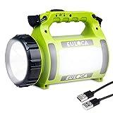 EULOCA Lampe Torche LED Rechargeable Etanche,2600mAh CREE LED 3 en 1 Puissante, Lampe Camping Projecteur Portable, Lanterne Torche Câble USB Inclus pour Randonnée